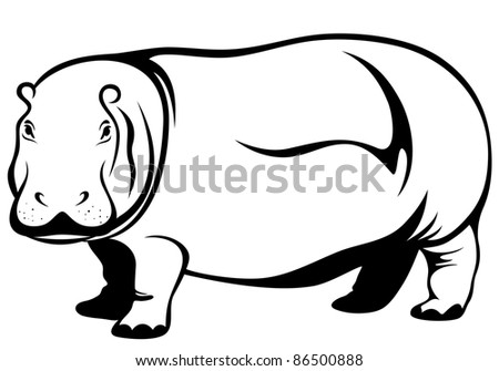 raster - hippopotamus illustration (vector version is available in my portfolio)