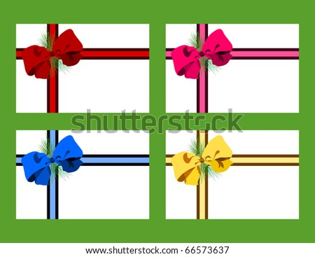 Raster holiday gift tags featuring multicolored bows - stock photo
