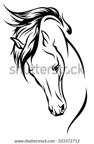 raster - horse head with flying mane illustration (vector version is available in my portfolio) - stock photo