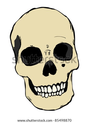 Raster human skull - stock photo