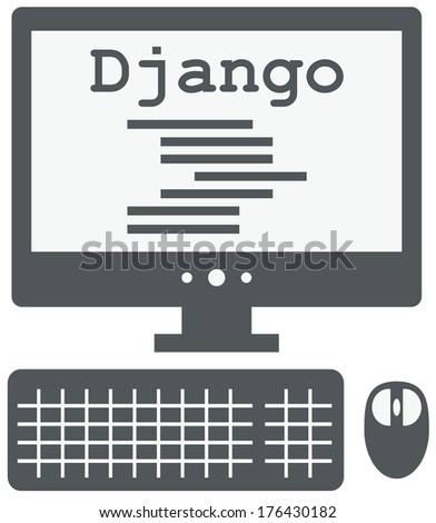 raster icon of personal computer with django code on the screen, isolated grey simple flat illustration on white background - stock photo