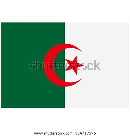 Raster illustration Algeria flag raster icon. Rectangular national flag of Algeria. Algeria flag button - stock photo