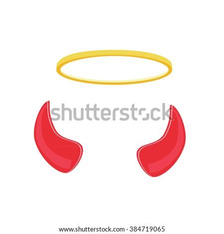 Raster Illustration Angel Devil Symbols Concept Stock Illustration