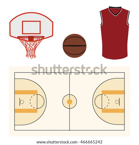 Raster illustration basketball icon set with basketball ball, court, hoop and shirt. Team sport