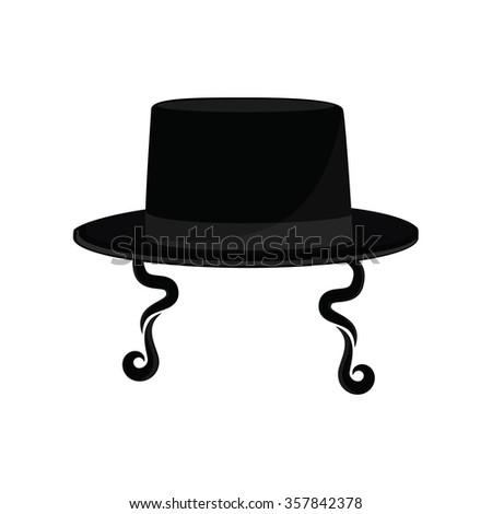 Raster Illustration Black Cylinder Hat Orthodox Stock Illustration