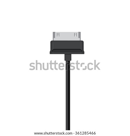 Raster illustration black usb cord, cable, connector symbol - stock photo