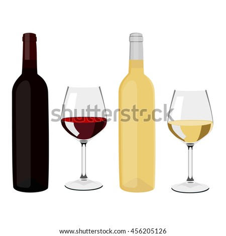 raster illustration bottles of wine and wine glasses with red and white wine. Bottles and glasses. Wineglass - stock photo