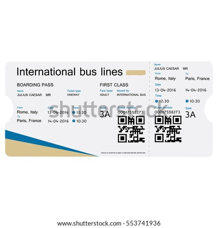 Vector Illustration Bus Ticket Template Design Vector – Bus Pass Template