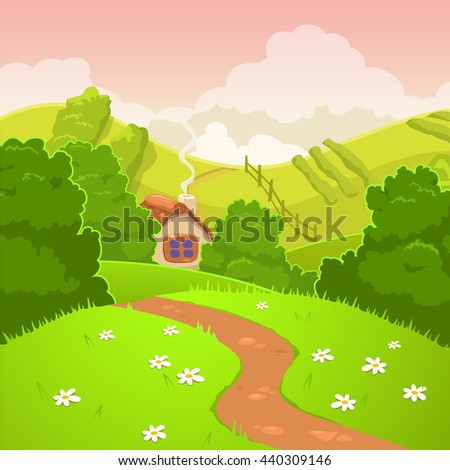 Raster illustration. Cartoon nature country landscape, square outdoor background - stock photo