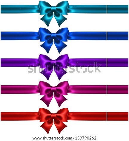 Raster illustration - collection of silk bows in dark colors with ribbons.