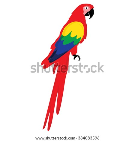 Raster illustration colorful macaw parrot. Beautiful macaw. Cartoon red parrot  - stock photo