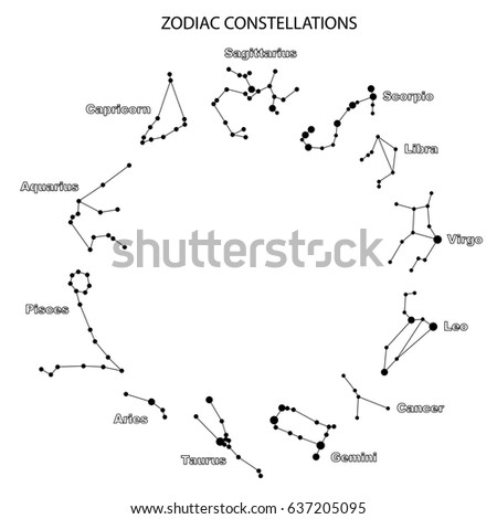 Raster Illustration Constellations Zodiac Signs Constellations Stock - Zodiac constellations map