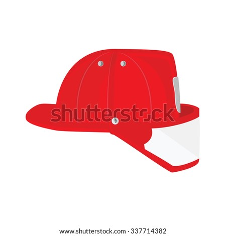 raster illustration firefighter helmet with protective glass. Red fireman hat icon  - stock photo