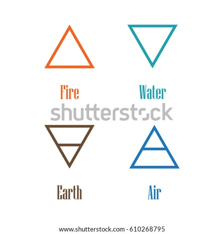 Raster Illustration Four Elements Icons Line Stock Illustration