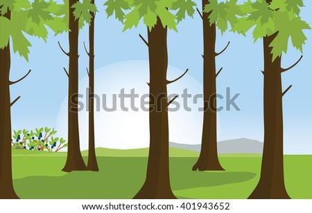 Raster illustration green sunny forest landscape. Forest background - stock photo