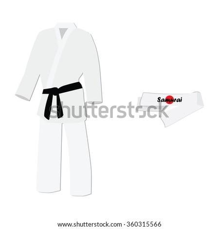 Raster illustration hachimaki national japanese headband with japan flag. Samurai bandana. White training kimono with black belt karate sport  - stock photo