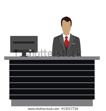Raster illustration happy male receptionist standing at hotel. Professional concierge at hotel reception desk - stock photo