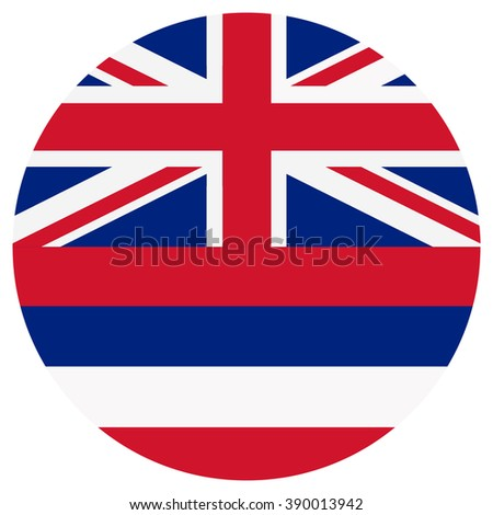 Raster illustration Hawaii flag raster icon. Round national flag of Hawaii. Hawaii flag button - stock photo