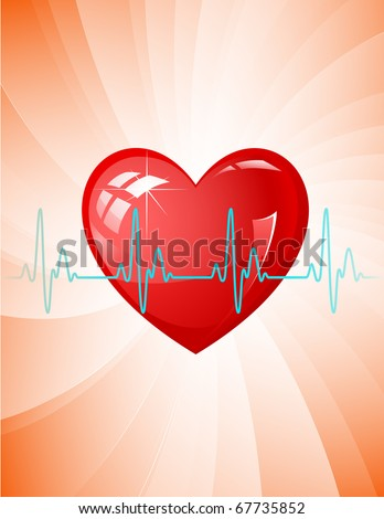 Raster illustration. Heart pulse