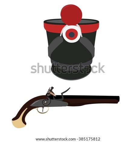 Raster illustration military hat and vintage musket gun. Musket or flintlock gun. Infantry shako - stock photo