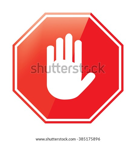 Raster illustration no entry hand sign on white background. Stop signal sign icon