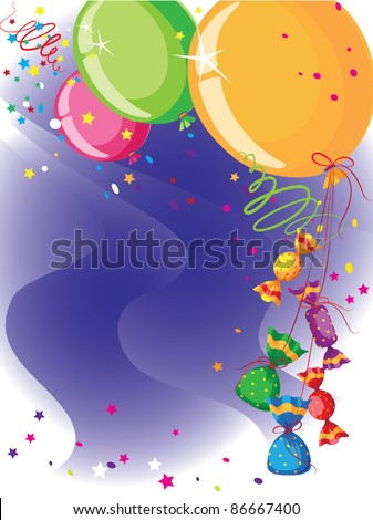 raster illustration of a balloons and candy card - stock photo