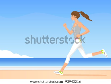 raster illustration of a beautiful girl jogging by the sea - stock photo