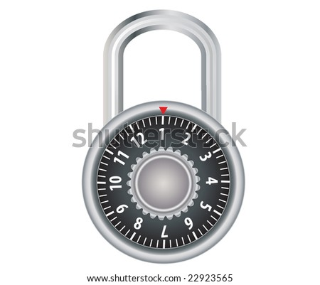 Raster illustration of a combination lock isolated on white