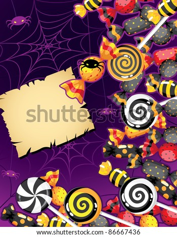 raster illustration of a Halloween candy card - stock photo