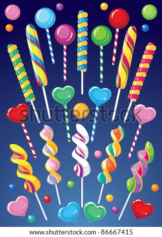 raster illustration of a lollipops set - stock photo