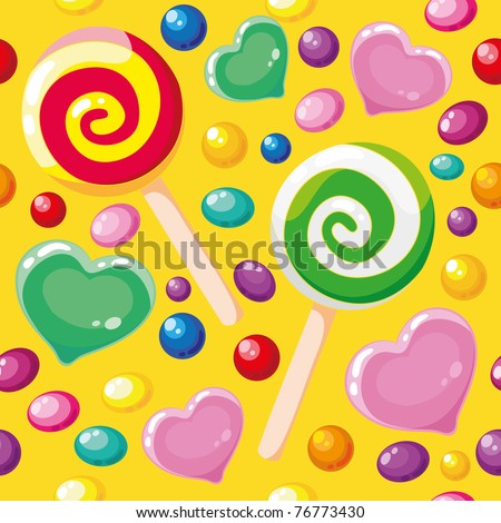 raster illustration of a seamless pattern cute candies - stock photo