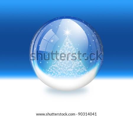 Raster illustration of a snow globe - stock photo