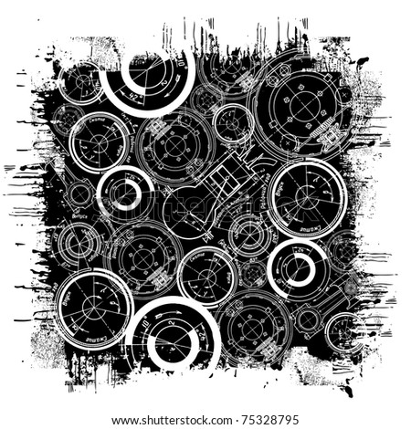 raster illustration of abstract technical drawing in grunge black square