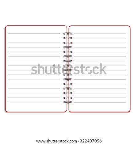 raster illustration of blank empty spiral notepad, notebook. Opened notebook. Lined notebook - stock photo