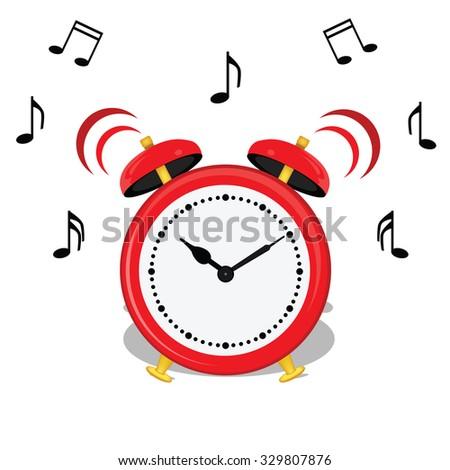 raster illustration of cartoon alarm clock and music notes symbols. Classical red alarm clock icon. Wake up.  - stock photo