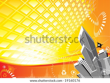 Raster illustration of City Solar Power background. (for vector format please visit my gallery/portfolio)