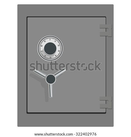 raster illustration of closed bank safe. Money safe icon. Steel safe. Security concept with metal safe icon