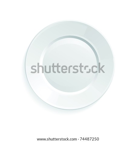 Raster illustration of empty plate isolated on a white background - stock photo