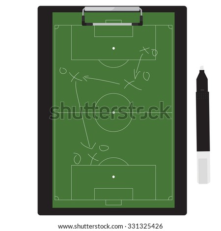 raster illustration of football tactic on clipboard. Soccer tactic board. Writing a soccer game strategy on a blackboard.  - stock photo