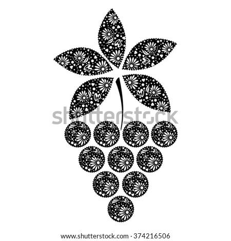 Raster illustration of fruit. Decorative ornamental black grape isolated on the white backdrop. - stock photo