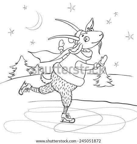 raster illustration of funny cartoon goat skating on the background of winter scenery, great coloring page for kids - stock photo