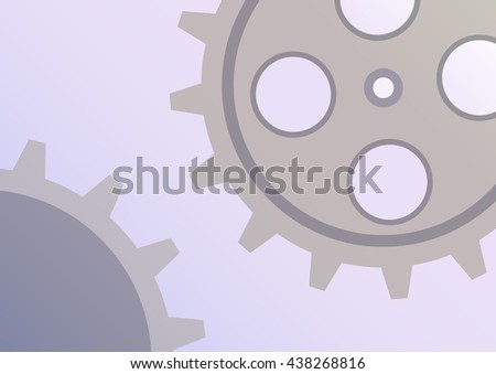 Raster illustration of gear wheel abstract background. Blue transparent banner with clockwork.  - stock photo