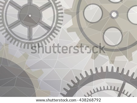 Raster illustration of gear wheel abstract background. Grey transparent banner with clockwork. Poligonal design.  - stock photo