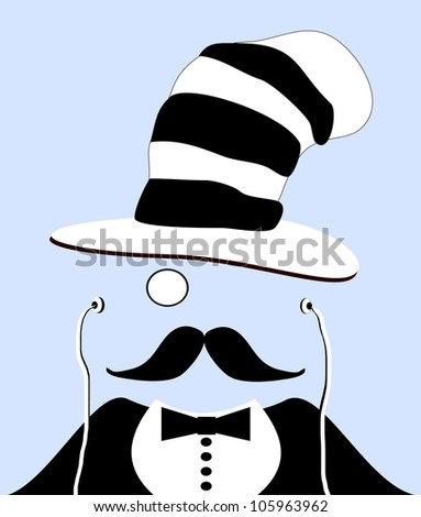 raster illustration of gentleman with monocle and funny hat - stock photo