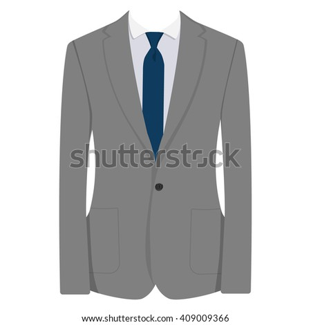 Raster illustration of grey man suit with blue tie and white shirt isolated on white background. Business suit, business, mens suit, man in suit