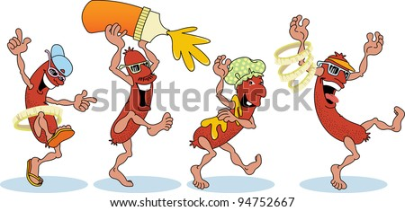 Raster illustration of Hotdogs on Parade - stock photo