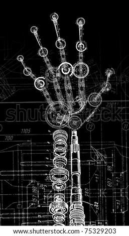 raster illustration of human hand of many mechanisms - stock photo