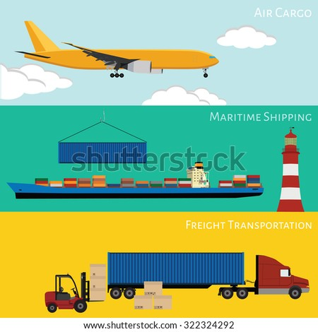 raster illustration of logistic network concept. Airmail, maritime shipping, road transportation on-time delivery flat icons set  - stock photo