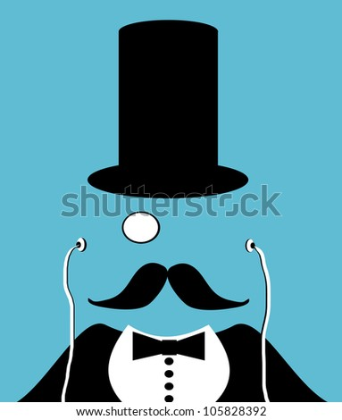 raster illustration of man wearing top hat and monocle - stock photo