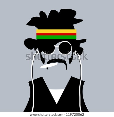 raster illustration of man with rastafarian headband and marijuana joint - stock photo